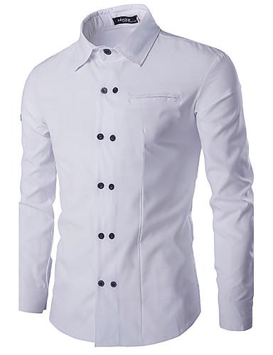 Heren Overhemd Effen Patchwork Katoen