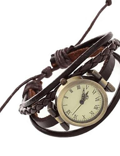 Mujer Reloj Pulsera / Reloj de Pulsera Punk PU Banda Vintage / Casual / Bohemio Marrón / Un año