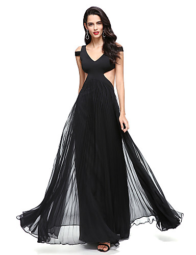 A-Line V-neck Floor Length Chiffon Jersey Prom Formal Evening Dress with Pleats by TS Couture®