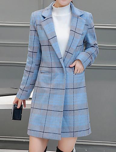 Dames Eenvoudig Winter Trenchcoat,Uitgaan Ingesneden revers-Lange mouw Blauw / Roze Ruitjes Dik Wol / Polyester
