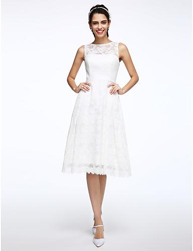 abordables Vestidos de Novia-Corte en A Bateau Neck Hasta la Rodilla Encaje Vestidos de novia hechos a medida con Cinta / Lazo por LAN TING BRIDE® / Vestidos Blancos