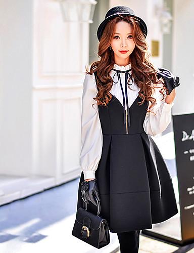 女性用 シース 黒 フレア ドレス - フリル プリーツ, ソリッド ストラップ
