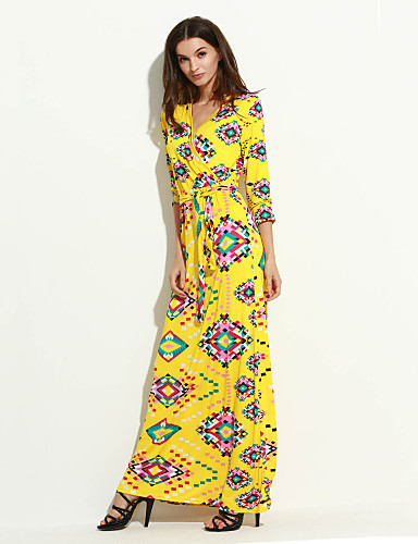 여성의 보호 칼집 드레스 프린트 맥시 V 넥 폴리에스테르