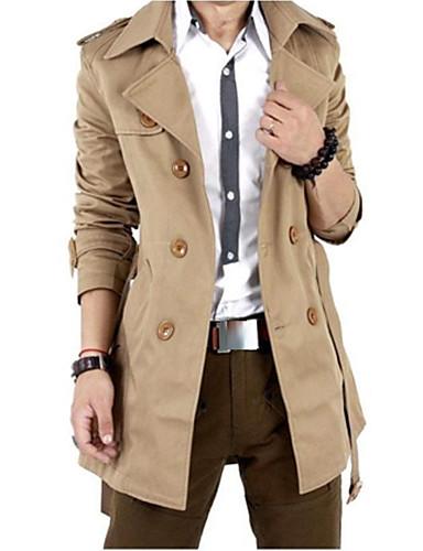 ราคาถูก แจ็กเก็ต &เสื้อโค้ทผู้ชาย-สำหรับผู้ชาย สุดสัปดาห์ ตก ยาว เสื้อคลุมสุภาพ, สีทึบ คอปีเตอร์แพน แขนยาว ฝ้าย / เส้นใยสังเคราะห์ สีดำ / สีกากี XL / XXL / XXXL / กระดุมหน้าอกแถวคู่ / เพรียวบาง