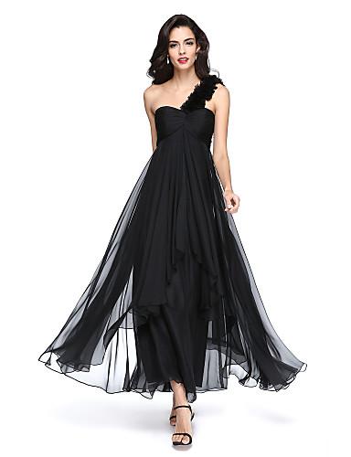 billige Formelle dresser-A-linje Enskuldret Ankellang Chiffon Liten svart kjole Formell kveld Kjole med Bølgemønster / Blomst / Plissert av TS Couture®