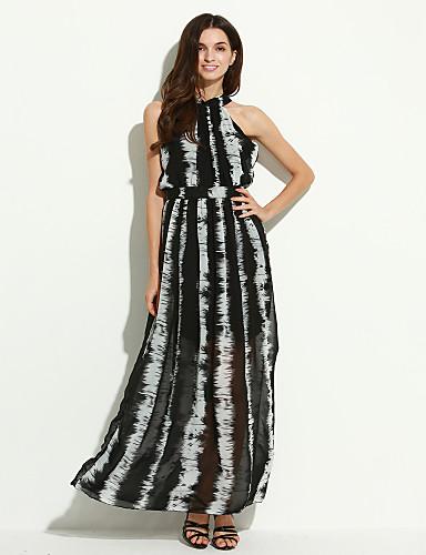 여성용 A 라인 드레스 - 줄무늬, 뒷면이 없는 스타일 맥시 터틀넥