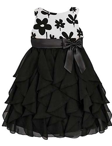 Sukienka-DziewczynyKwiaty-Mieszanka bawełny-Lato-Czarny