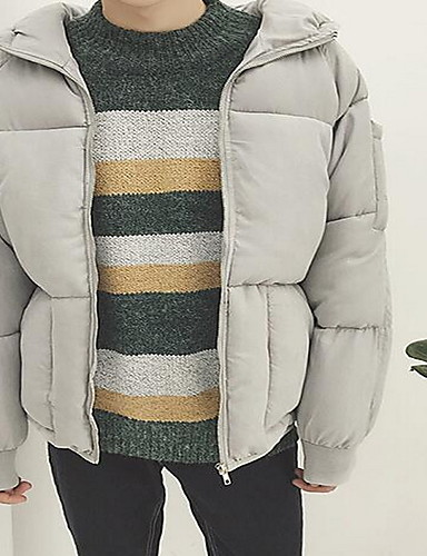 コート レギュラー パッド入り メンズ,カジュアル/普段着 ソリッド コットン コットン-シンプル 長袖 フード付き