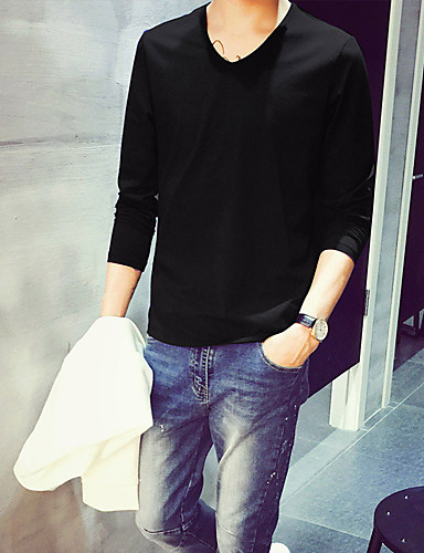 Bomull Medium Langermet,V-hals T-skjorte Ensfarget Alle sesonger Vintage Søt Chinoiserie Arbeid Klubb Formelle Herre