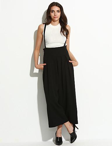 Mulheres Simples Cintura Alta Algodão Perna larga Calças - Sólido Pregueado