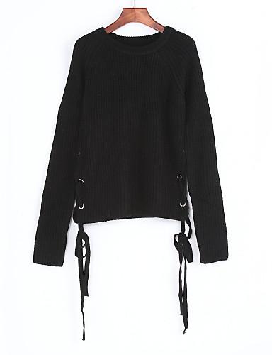 Dames Casual/Dagelijks Street chic Normaal Pullover Effen-Ronde hals Lange mouw Polyester Herfst Dun Micro-elastisch