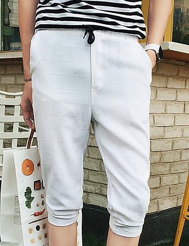 Herre Enkel Mikroelastisk Chinos Shorts Bukser,Rett Mellomhøyt liv Ensfarget