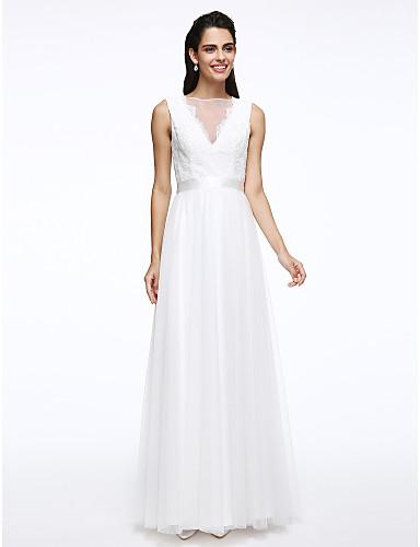 Corte en A Bateau Neck Hasta el Suelo Encaje / Tul Vestidos de novia hechos a medida con Cinta / Lazo / Botón por LAN TING BRIDE®