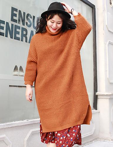 Lang Pullover Fritid/hverdag Enkel Dame,Ensfarget Sort / Oransje Turtleneck Langermet Ull / Akryl Vinter Medium Uelastisk