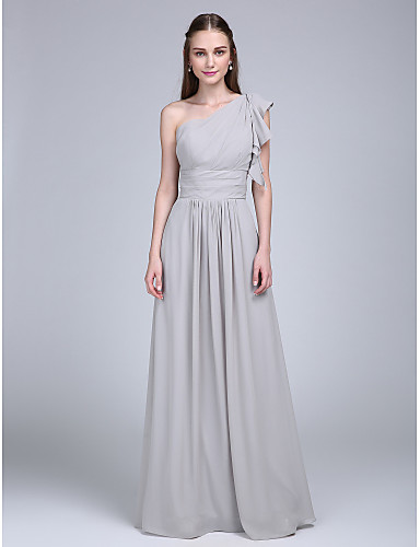 Sheath / Column One Shoulder Floor Length Chiffon Bridesmaid Dress with Ruched Ruffles Side Draping by LAN TING BRIDE®