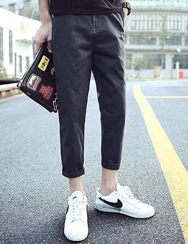 Miehet Yksinkertainen Chinoiserie Mikroelastinen Chinos housut Housut,Ohut Keski vyötäröYhtenäinen