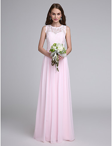 Sheath / Column Jewel Neck Floor Length Chiffon Lace Bodice Bridesmaid Dress with Lace by LAN TING BRIDE®