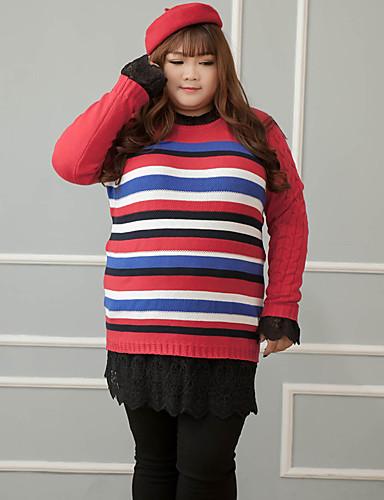 Normal Pullover Plusstørrelser / Fritid/hverdag Enkel Dame,Stripet Rød Rund hals Langermet Bomull Vinter Medium Mikroelastisk