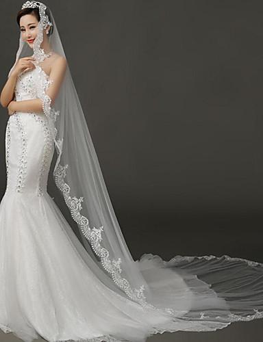 velos de capilla de velo de novia de una sola capa con accesorios de boda de tul