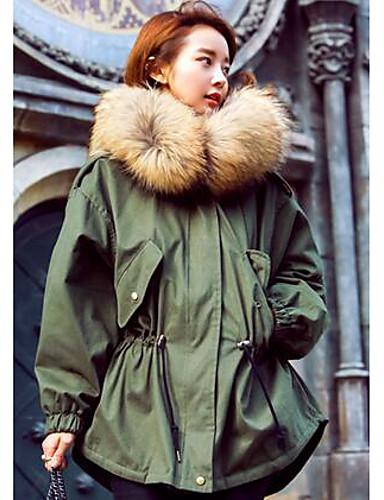 女性 カジュアル/普段着 冬 ソリッド コート,シンプル グリーン ポリエステル 長袖 ミディアム