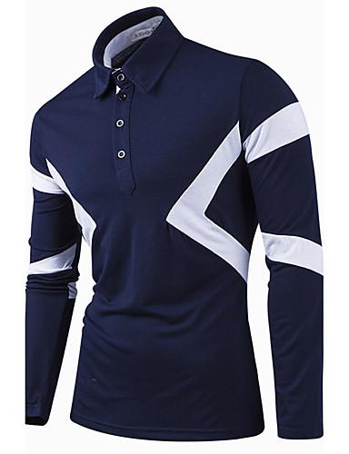 Bomull Skjortekrage T-skjorte - Ensfarget, Trykt mønster Herre