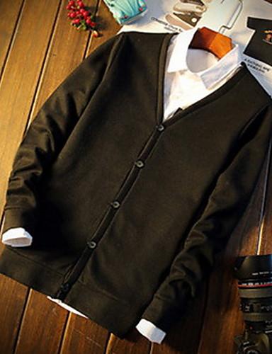 Normal Cardigan Fritid/hverdag / Formelle Enkel / Aktiv Herre,Ensfarget Blå / Sort / Grå V-hals Langermet Bomull Vinter Medium Elastisk