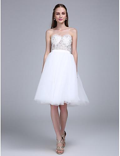 볼 드레스 스윗하트 무릎 길이 튤 신부 들러리 드레스 와 아플리케 스팽글 으로 LAN TING BRIDE®