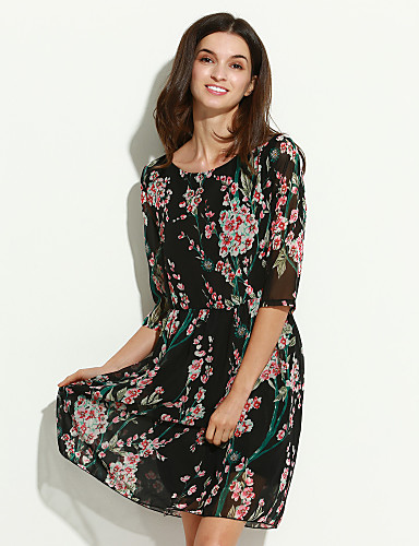 Women's Going out Vintage / Cute A Line / Swing Dress,Floral Round Neck Above Knee ½ Length Sleeve Blue / Black Summer