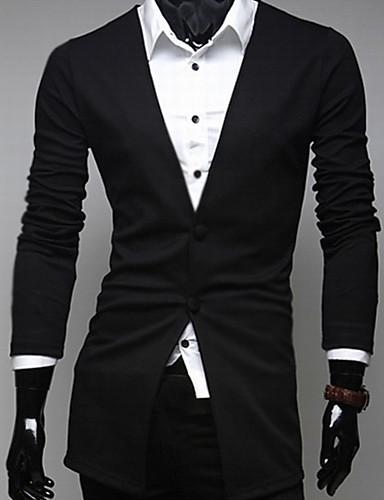 Мужской Однотонный Блейзер Для торжеств и мероприятий,Другой,Длинный рукав,Черный / Серый