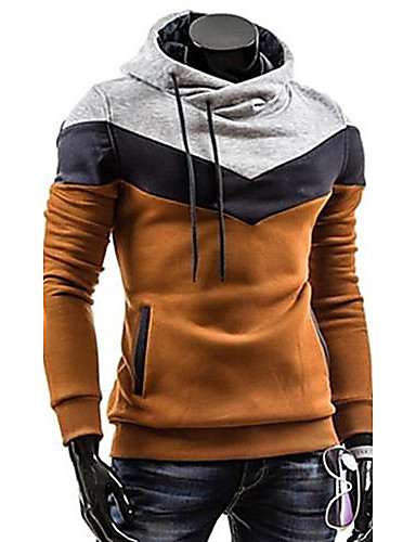 Men's Plus Size Sports Casual Active Long Sleeves Slim Hoodie - Color Block Turtleneck