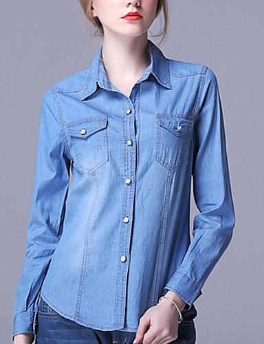 Bomull / Rayon Blå Medium Langermet,Skjortekrage Skjorte Ensfarget Alle sesonger Enkel / Sofistikert Ut på byen / Fritid/hverdag Dame
