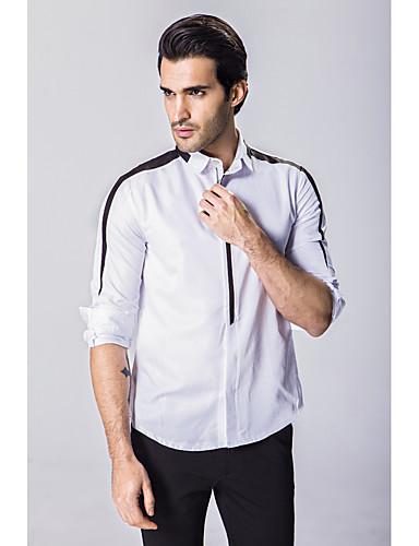 Bomull Medium Langermet,Skjortekrage Skjorte Ensfarget Alle sesonger Vintage Enkel Søt Ut på byen Arbeid Bryllup Herre