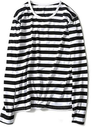 Nylon Tynn Langermet,Rund hals T-skjorte Stripet Vår Høst Enkel Ut på byen Fritid/hverdag Plusstørrelser Herre