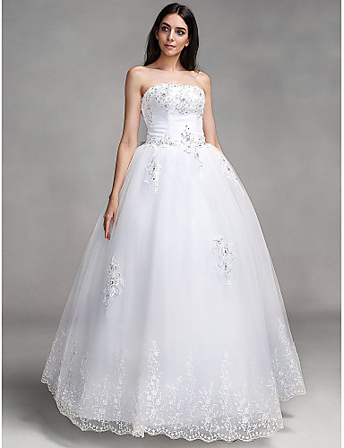 Ball Gown Sweetheart Neckline Floor Length Lace Made-To-Measure Wedding Dresses with Bowknot / Beading / Appliques by LAN TING BRIDE®