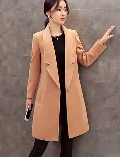 女性 カジュアル/普段着 冬 ソリッド コート,シンプル Vネック ブラック ポリエステル 長袖 ミディアム