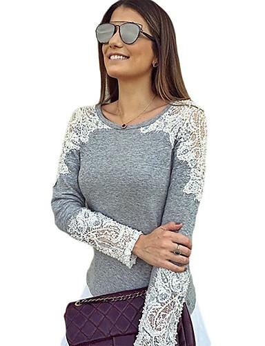 kvinner går ut blonder cutout lappeteppe grå langermet topp