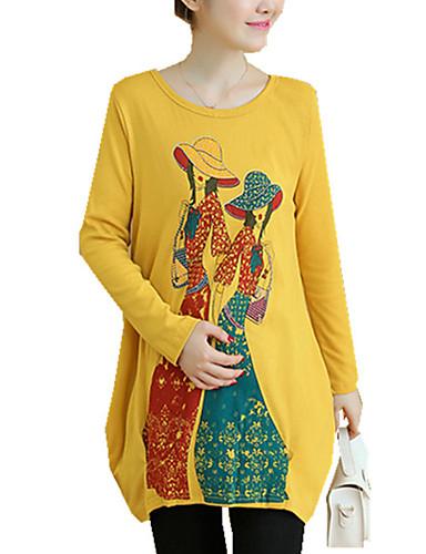 Bomull Polyester Spandex Medium Langermet,Rund hals T-skjorte Trykt mønster Vår Høst Vintage Fritid/hverdag