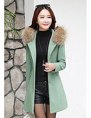 女性 パーティー 冬 ソリッド コート,ストリートファッション ラウンドネック ピンク / レッド ポリエステル 長袖 ミディアム