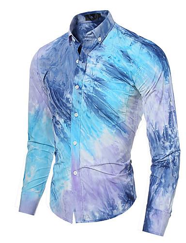 Bomull Langermet, Skjortekrage Skjorte Multi-farge Alle årstider Vintage Fritid Gatemote Formell Arbeid Herre