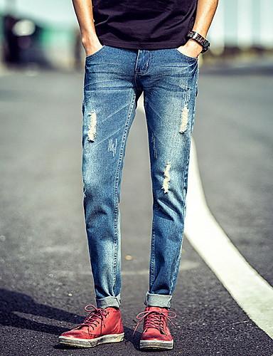 Herre Enkel Mikroelastisk Jeans Bukser,Rett Mellomhøyt liv dratt Ensfarget