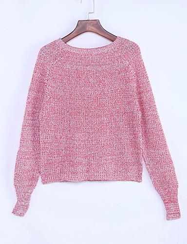Damer Simple Afslappet/Hverdag Normal Pullover Ensfarvet,Rund hals Langærmet Polyester Efterår Medium Mikroelastisk