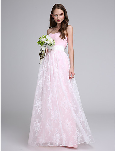 Sheath / Column Strapless Floor Length Lace Tulle Bridesmaid Dress with Lace Sash / Ribbon Criss Cross by LAN TING BRIDE®
