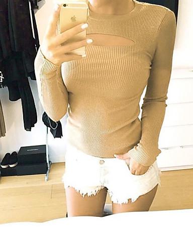 女性用 すかしカット Tシャツ, ストリートファッション ソリッド