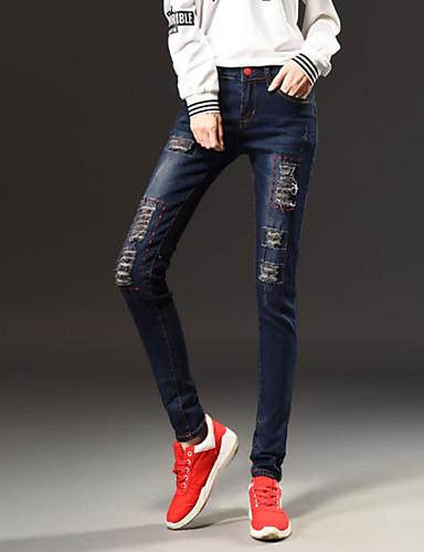 Dame Enkel Mikroelastisk Jeans Bukser,Tynn Mellomhøyt liv Ensfarget