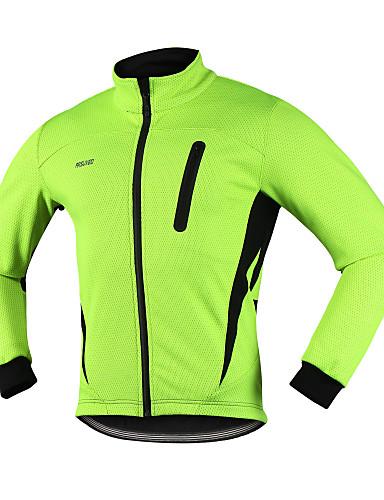 58ca50f0c Arsuxeo Men s Cycling Jacket Bike Winter Jacket Top Thermal   Warm Windproof  Breathable Sports Spandex Fleece Winter Red   Blue   Light Green Mountain  Bike ...