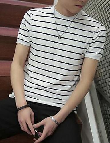 男性用 カジュアル/普段着 夏 Tシャツ,シンプル ラウンドネック ストライプ コットン 半袖