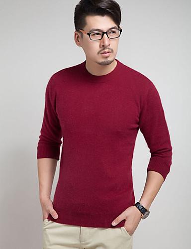 Herre Arbeid Søtt Chinoiserie Langermet Pullover - Ensfarget Rund hals