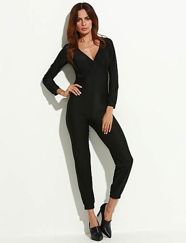 Damen Jumpsuits - Leger Langarm Polyester Mikro-elastisch