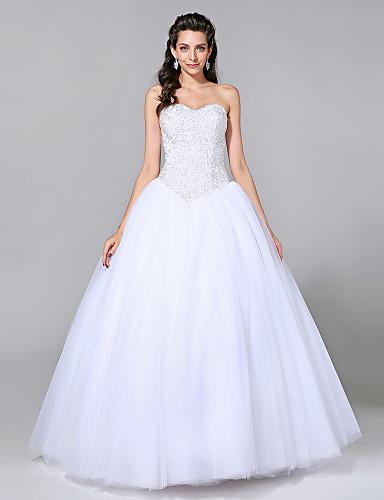 منفوش شق الصدر طول الأرض تول فساتين الزفاف صنع لقياس مع حصى بواسطة LAN TING BRIDE® / Sparkle & Shine
