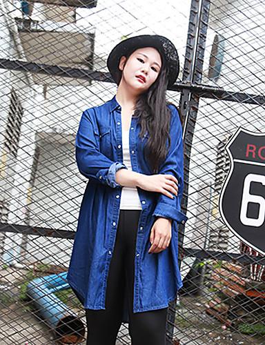 Bomull Blå Medium Langermet,Skjortekrage Trenchcoat Ensfarget Enkel Fritid/hverdag / Plusstørrelser-Høst / Vinter Dame